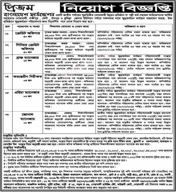 Prism Bangladesh Foundation Job Circular 2020
