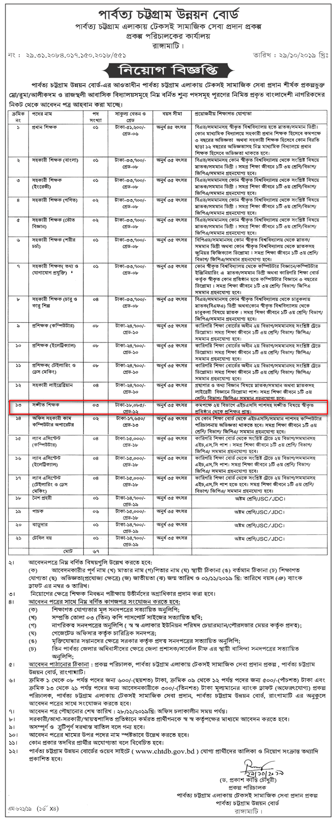 Govt Primary School Singer and Sports Teacher Job Circular 2020