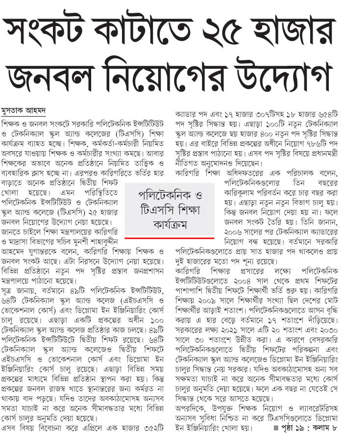 Bangladesh Technical Education Board BTEB Job Circular 2020